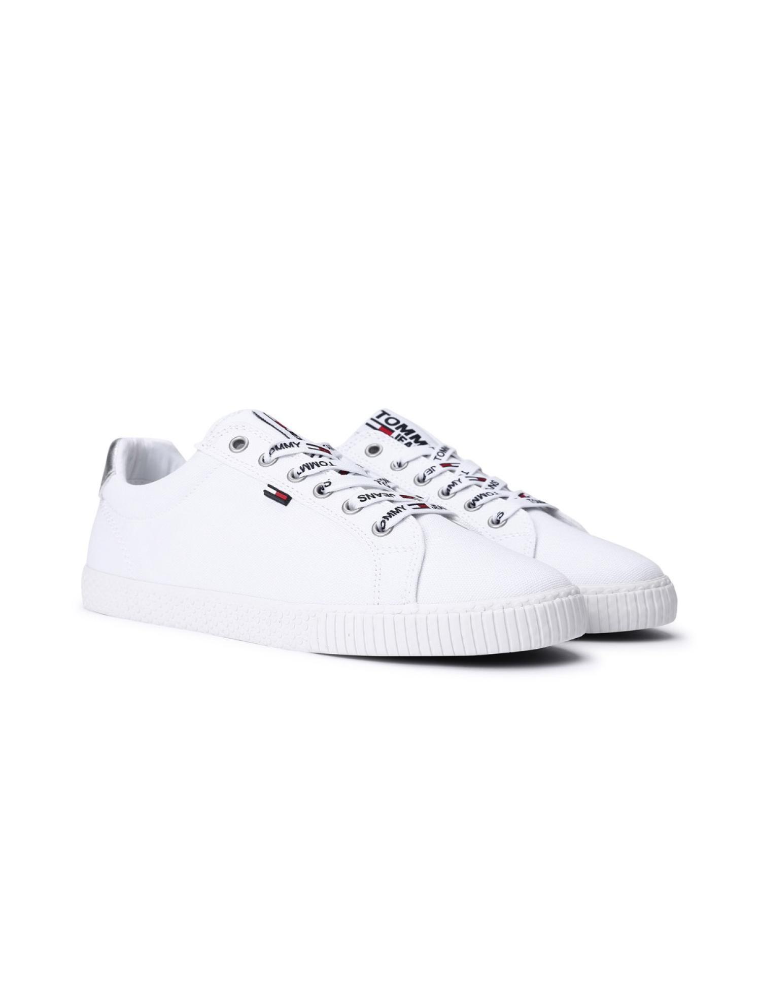 印花绑带小白鞋