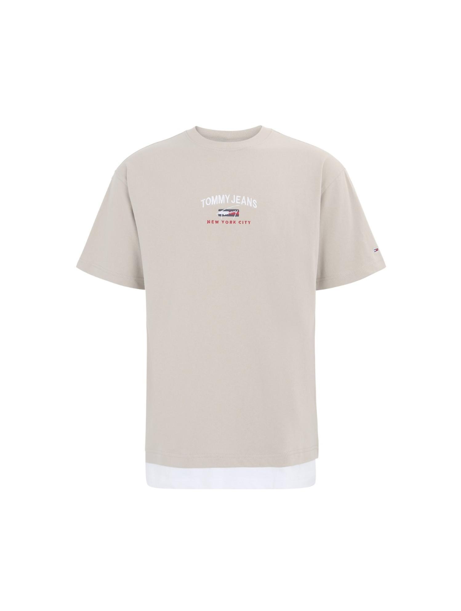 假两件绣标T恤